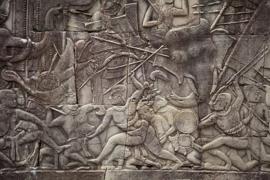 Stone-carved bas relief. V10CAM0018-RM