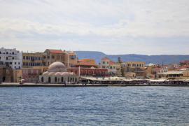 Chania, Crete, Greece. The old town around Hasan Pasha Mosque.