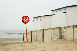Cabins on the beach at Knokke, located on Belgium's coast.